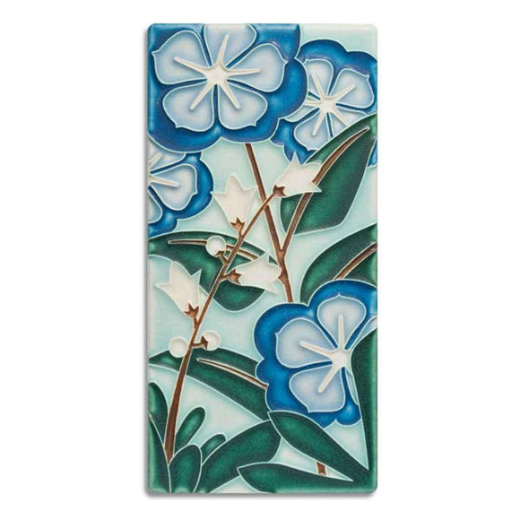 Motawi Gifts Starry Flowers Blue Tile - 4x8
