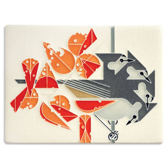 Motawi Gifts Titmouse Tidbit Tile - 6x8 - Cream