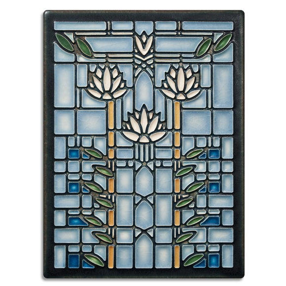 Motawi Gifts Waterlilies Light Blue Tile - 6x8