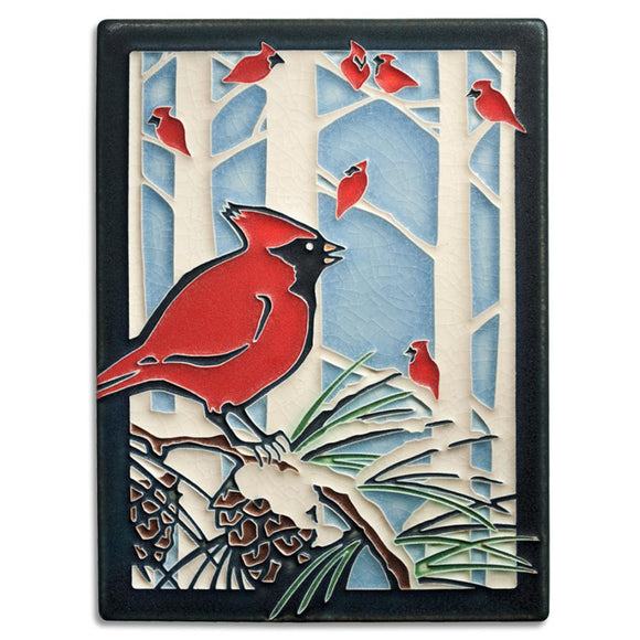 Motawi Gifts Winter Cardinals Tile - 6x8