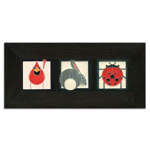 Motawi Tile 4x4 Charley Harper Animals Trio Framed Tile Set