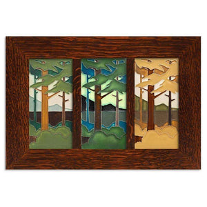 Motawi Tile 4x8 Pine Landscape Seasonal Framed Tile Set