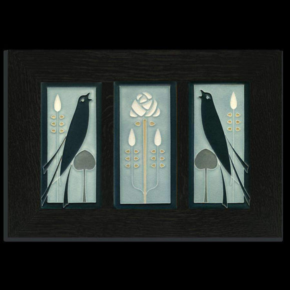 Motawi Tile 4x8 Songbird and Rose Framed Tile Set Grey Blue Ebony