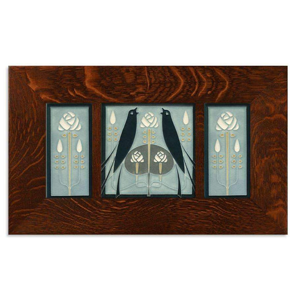 Motawi Tile 8x8 Songbirds with Roses Framed Tile Set