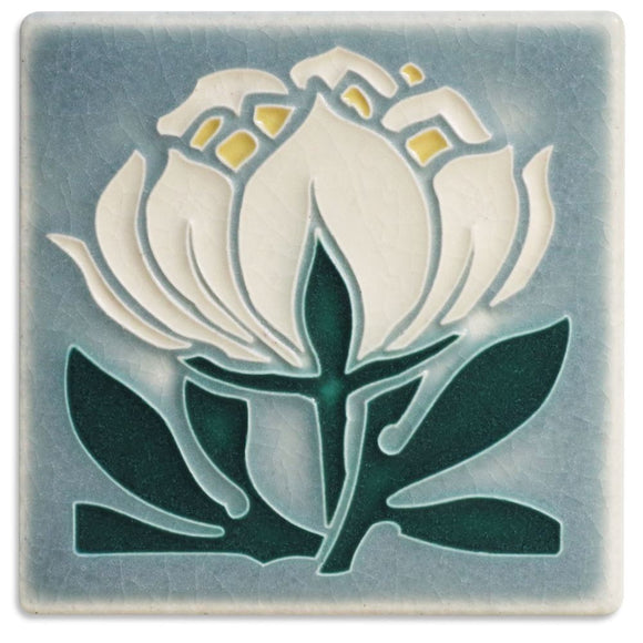 Motawi Tile Peony Bloom Grey Blue Tile - 4x4