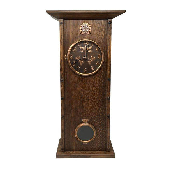 MT Clockmaker Decor Tall Copper Dragonfly Wood Mantle Clock - Dark
