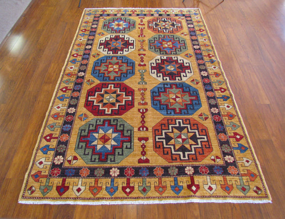 Persian Carpet Rug Gold Jewel Rug 4x6
