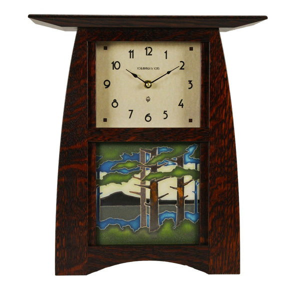 Schlabaugh Decor Arts Crafts Motawi 6x6 Tile Clock - Oak