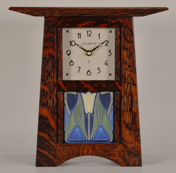 Schlabaugh Decor Craftsman 4 Inch Motawi Tile Clock - Oak