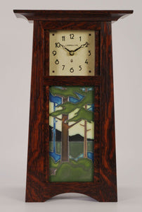 Schlabaugh Decor Craftsman 8x4 Motawi Tile Clock - Oak