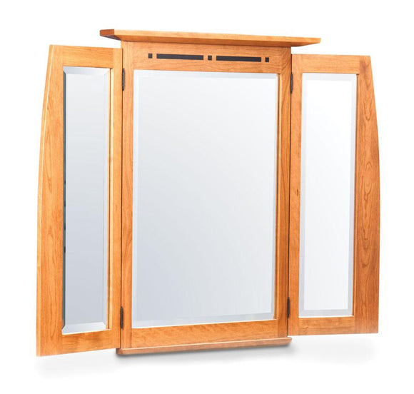 Simply Amish Bedroom Aspen Tri-View Mirror with Inlay 51 inch w