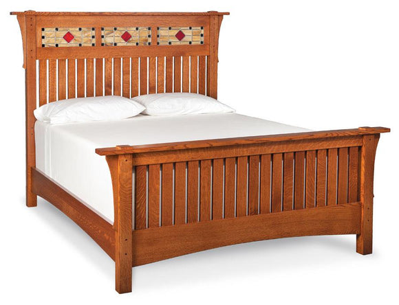Simply Amish Bedroom Grant Slat Bed with Stained Glass California King Complete Bed (no mattress or box spring)