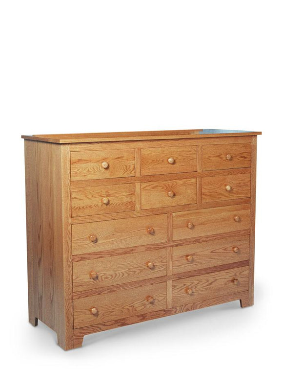 Simply Amish Bedroom Shaker 12-Drawer Bureau 58 inch w