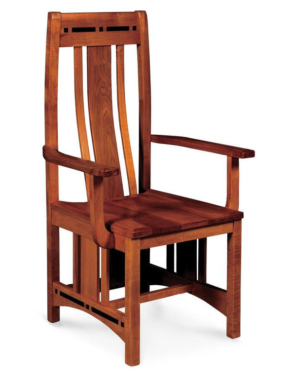 Simply Amish Dining Aspen Arm Chair with Lower Back and Inlay