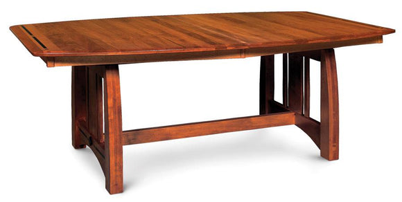 Simply Amish Dining Aspen Trestle Table with Inlay 42 inch x72 inch 4-Leaves