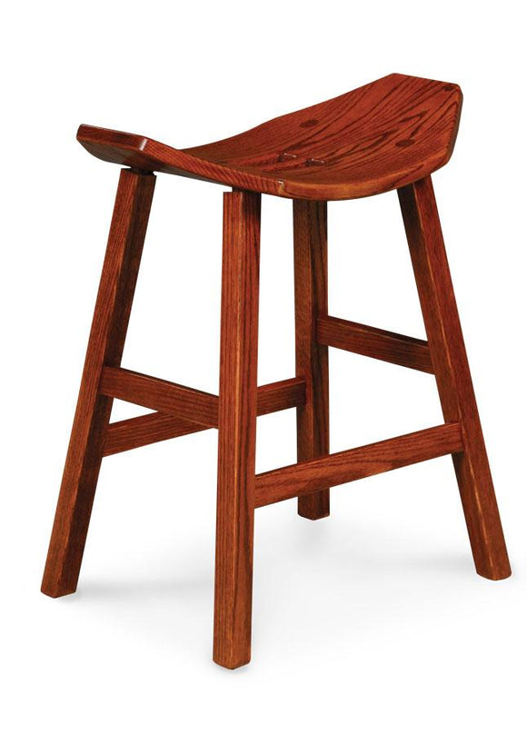 Simply Amish Dining Mission Saddle Stationary Barstool 18 inch h