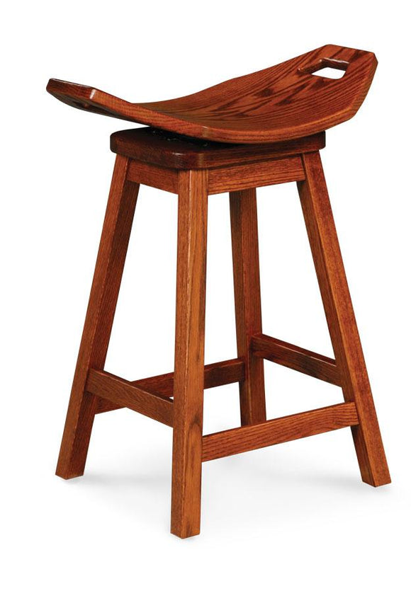 Simply Amish Dining Mission Saddle Swivel Barstool 18 inch h
