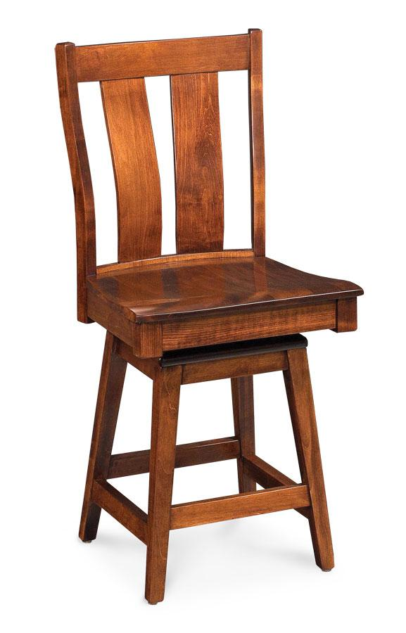 Simply Amish Dining Mitchell Swivel Barstool, Side 30 inch h