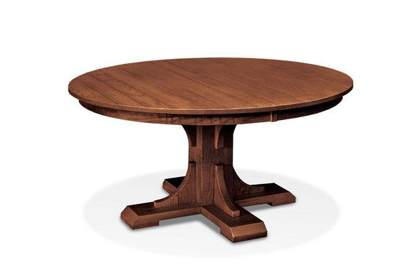 Simply Amish Dining Montauk Round Single Pedestal Table 42 inch Solid Top (Rough Sawn & Plank Top Std)