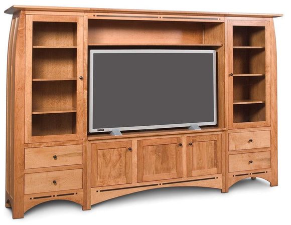 Simply Amish Living Aspen Wall Unit Entertainment Center with Inlay