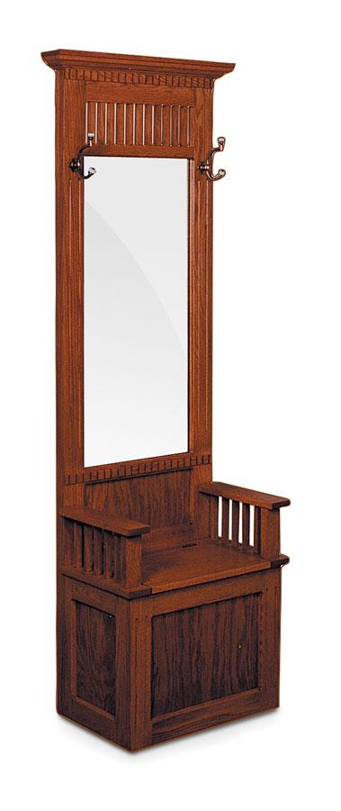 Simply Amish Living Mission Hall Seat with Beveled Mirror