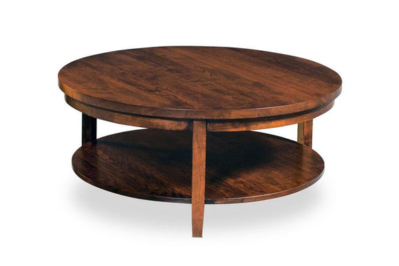 Simply Amish Living Parkdale Round Coffee Table with Shelf 36 inch