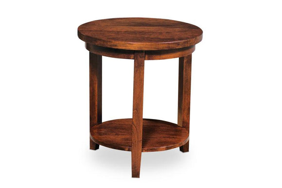 Simply Amish Living Parkdale Round End Table with Shelf 16 inch