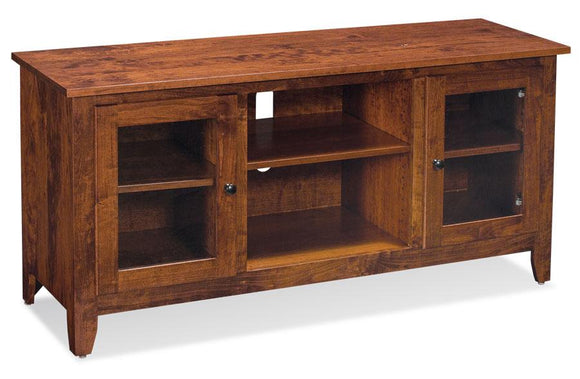 Simply Amish Living Shenandoah TV Console with Glass Doors and Open Center 54 inch