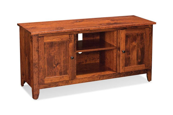 Simply Amish Living Shenandoah TV Console with Wood Doors and Open Center 54 inch