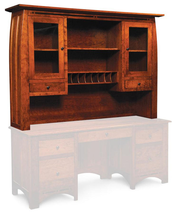 Simply Amish Office Aspen Hutch Top with Inlay, for Credenza