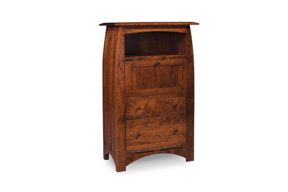 Simply Amish Office Aspen Laptop Cabinet with File Drawer and Inlay