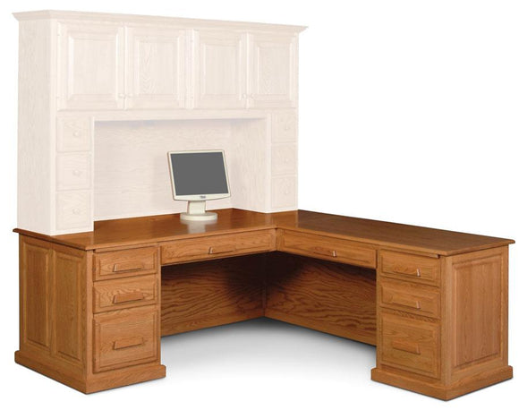 Simply Amish Office Classic L-Shape Desk Right Return, Raised-Panel Back