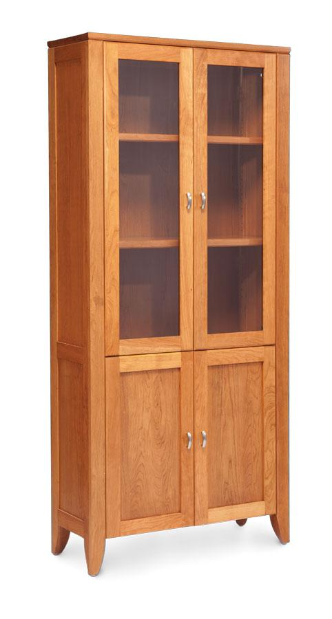 Simply Amish Office Justine Bookcase 65 inches high (2 shelves) Glass Doors on Top Wood Doors on Bottom