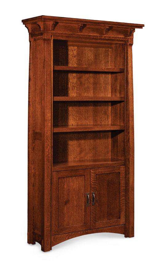 Simply Amish Office MaRyan Bookcase 65 inches high (3 shelves) Wood Doors on Bottom Only