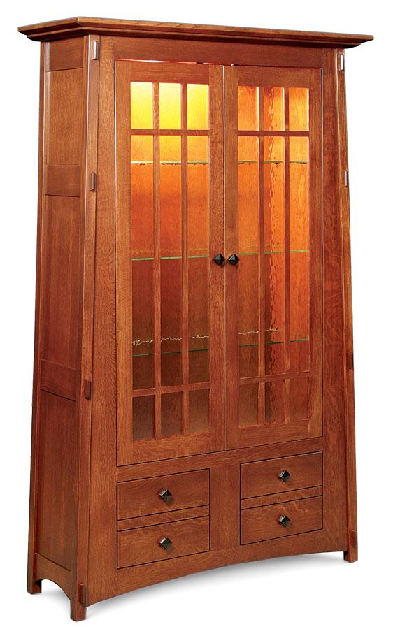 Simply Amish Office McCoy Bookcase, Glass Doors