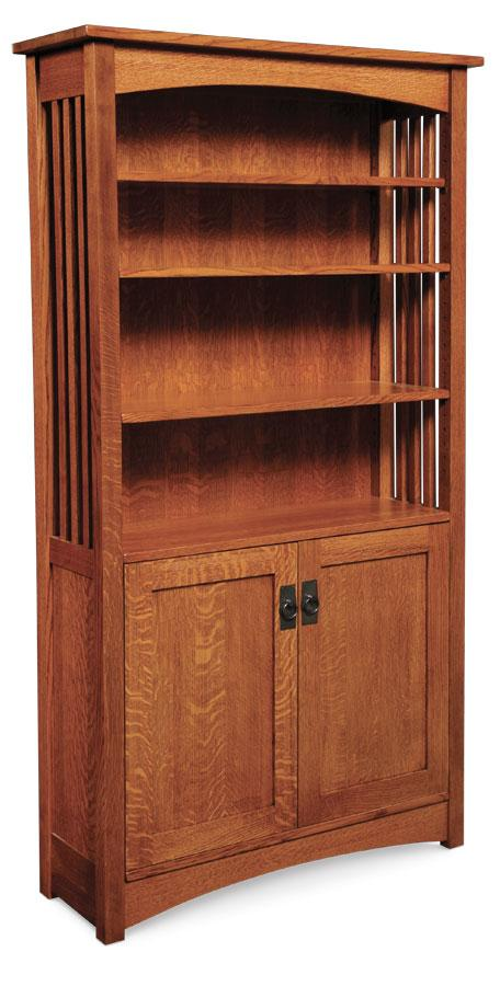 Simply Amish Office Mission Bookcase with Wood Doors on Bottom 72 inches high (4 shelves)