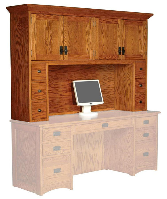 Simply Amish Office Prairie Mission Hutch Top with Drawers 64 inch