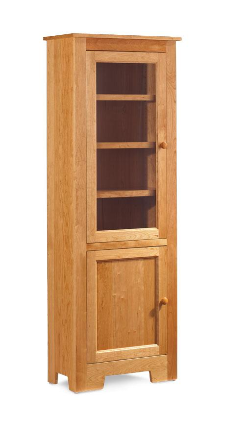 Simply Amish Office Shaker Narrow Bookcase 3 Adjustable Shelves Glass Doors on Top Wood Doors on Bottom