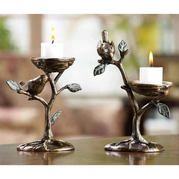 SPI Home Decor Set of Two Bird and Branch Candleholders