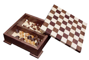 Superior Woodcrafts Gifts Maple and Walnut Chess Set with Base