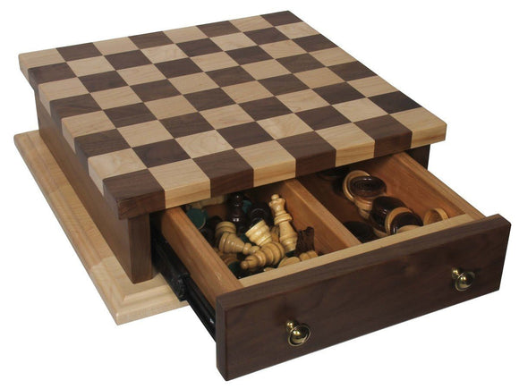 Superior Woodcrafts Gifts Maple and Walnut Chess Set with Drawer