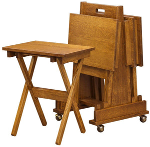 Superior Woodcrafts Living Mission Style Folding TV Tray Set Small Oak