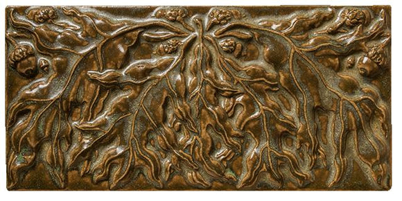 Terra Firma Tile 8 inch Oak Leaf B Art Tile Antique Gold