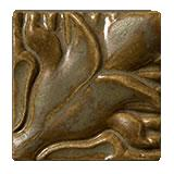 Terra Firma Tile Blossoming Lotus Corner 1 Art Tile Moss Bronze