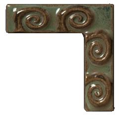 Terra Firma Tile Fiddlehead Corner Art TIle Alchemy