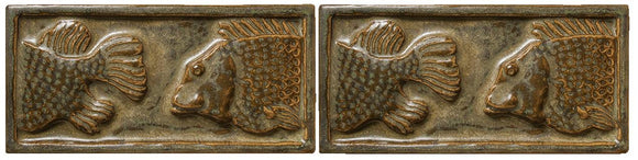Terra Firma Tile Fish Art Tile Antique Gold