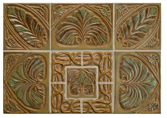 Terra Firma Tile Leaf Triads and Twining Vines Centerpiece