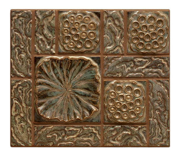 Terra Firma Tile Lotus Pods Leaf and Water Centerpiece