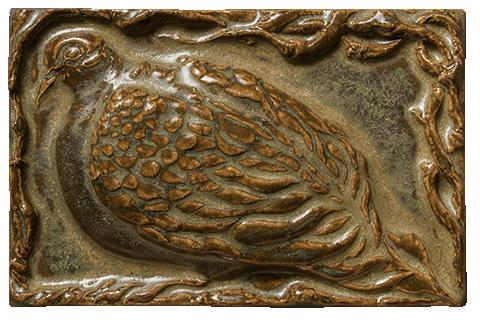Terra Firma Tile Quail Art Tile Antique Gold