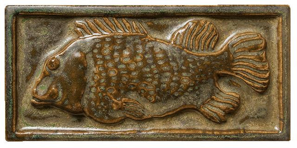 Terra Firma Tile Whole Fish Art Tile Antique Gold